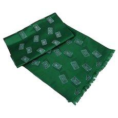 Vintage Mens Opera Scarf / Neck Scarf / Emerald Green