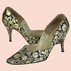 1960s Vintage Shoes, Gold and Black Brocade Spike Heels, French Bootier for Danny Simmons, Las Vegas Sz 6 1/2