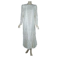 1980s Vintage Ivory Lace Dress, 1920s Inspired Flapper Dress, B38