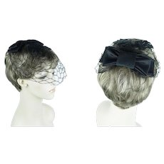 Vintage Fascinator Black Netting with Wide Black Bow