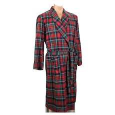 Vintage Mens Red Plaid Cotton Robe / Dressing Gown by Elite, Sz Medium