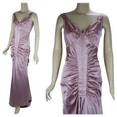 1980s Vintage Evening Gown, Mauve Satin 20s Inspired Formal by Jessica McClintock, Sz 6 B38 W28