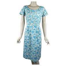 1950s Vintage Dress, Blue and White Floral Cotton Eyelet Dress by I Magnin, B40 W29