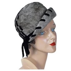 1960s Vintage Hat, Gray Faux Fur Brimmed Cloche by DuMonde, Sz 21 1/2