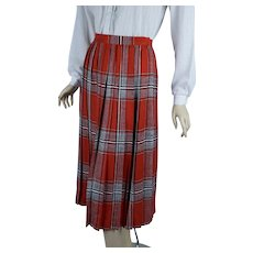 Vintage Red Plaid Pleated Skirt, 1990s Knife Pleated Shirt, Austin Hill, Sz 6 W26