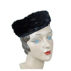 1960s Vintage Pillbox Hat, Dark Brown Mink w/ Satin Crown by MisterT, Sz 22