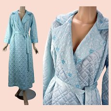 1960s Vintage Robe, Blue Satin Quilted Ankle Length Wrap Dressing Gown / Robe Sz M, B40