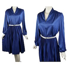 1970s Vintage Dress, Crystal Pleated Full Skirt, Navy Blue w/ Balloon Sleeves, B40