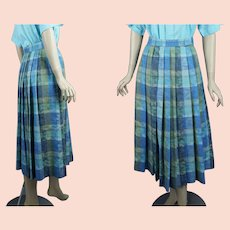 Vintage 1990s Geiger Pleated Skirt w/ Pockets, Cotton and Rayon Blue Green, Made in Austria, Sz 36, W26