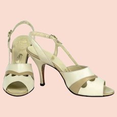 Vintage 1960s Tan Shoes Sandals, Open Toe Slingback Heels, Italian Hand Made Leather, Amano Roma, Sz 7AAA