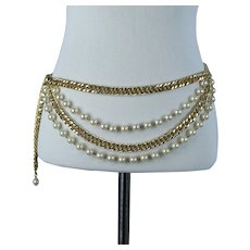 1980s Pearl and Goldtone Adjustable Metal Chain Drape Belt