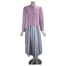 1990s Vintage Geiger Suit, Pink Boiled Wool Jacket w/ Pearl Grey and Pink Pleated Skirt, Made in Austria
