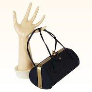 Vintage 1950s Black Faille Barrel Handbag Purse