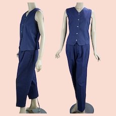1980s Vintage Slacks and Vest,  Navy Blue Tweed Cotton by Northern Treasures, Northern Reflections Canada, Sz 7/8 and Sz Small