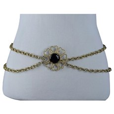 1980s Flower Goldtone Adjustable Metal Chain Belt