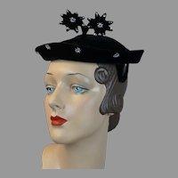 Vintage 50s Black Velour Beret Hat, Rhinestone Star Hat