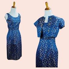 50s Blue Brocade Cocktail Dress with Bolero Jacket, Size XS