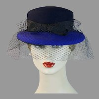 90s Black and Blue Derby Style Hat with Netting, Size 22