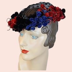 1940s Open Crown Wreath Hat, Black, Red and Blue Velvet by Ethel Atkins