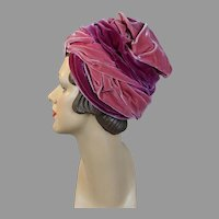 Vtg 60s Velour Turban in Shades of Pink by Pola, Size 21