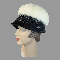 Vintage 60s White Rabbit and Sequin Lampshade Style Hat by Norman Durand, Size 21 Hat
