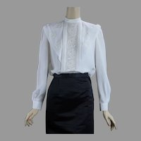 90s Vtg Rose Applique Long Sleeve Blouse with Mandarin Collar by Philippe Marques, Size 4  B36