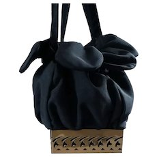 Vintage Black Twill Drawstring Handbag with Goldtone Filigree Base