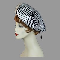 Vintage 60s Black and White Bubble Crown Beret by Christine, Size 22 Hat
