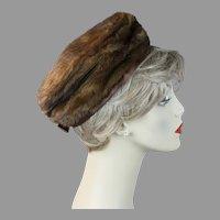 1960s Brown Mink Pillbox Hat by Christine