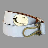 Roger Van S Belt White Leather Belt with Brass Clasp