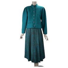 90s Teal Boiled Wool Suit with Pleated Midi Skirt by Geiger, Made in Austria, Size 6 Suit