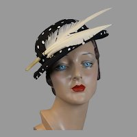 1950s Black and White Polka Dot Feathered Derby Hat, Size 20