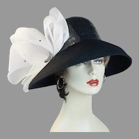 Black and White Capeline Wide Brim Statement Hat with Sequin Crown, Size 22 Hat