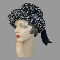60s Black and White Straw Breton with Upturn Brim Hat by Jingo for Unger, Size 21 Hat