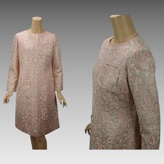 Vintage 1960s Party Dress Pink and Gold Brocade A Line B38 W34