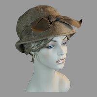 Vintage Taupe Faux Fur Brimmed Cloche Style Hat, Size 21 1/2