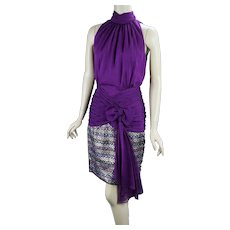 90s John Charles Purple Ruched Chiffon and Brocade Party Dress, Size 4