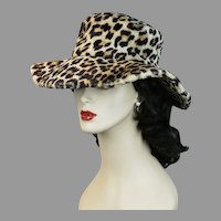 70s Faux Fur Animal Print Wide Floppy Brim Hat, Size 22