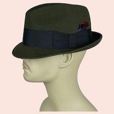 60s Olive Green Knox Stingly Brim Trilby, Fedora, Size 7 1/8