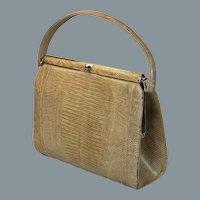 60s Sterling Taupe Lizard Reptile Handbag