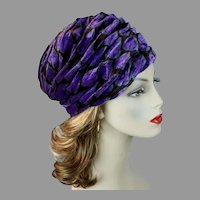 70s Lavender Velour Abstract Pattern Turban Hat by Mister T, Size 21  1/2