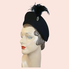 40s Black Felt Feathered Halo Hat by New York Creations