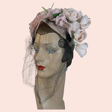 40s Pink Straw Flowered and Veiled Headband Hat