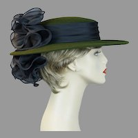 90s Olive Green and Black Wide Brim Hat by Sonni, Size 22