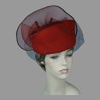 90s Bright Red Asymmetrical Pillbox Statement Hat, Size 22