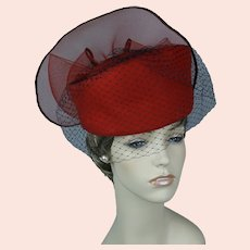 90s Bright Red Asymmetrical Pillbox Statement Hat, Size 22