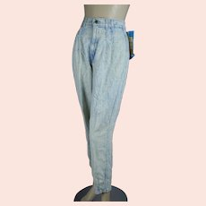 Deadstock Acid Washed 80s High Waist Chic Jeans, Size Petite Misses 14 NOS
