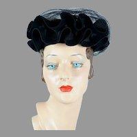 1940s Black Ruffled Veiled Tilt Hat