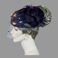 Plum Feathered with Gold Brocade and Veiling Statement Hat by Don Anderson, Size 22 Church Hat