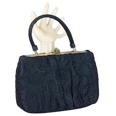 Vintage Black Brocade Handbag by Lewis , Formal Handbag